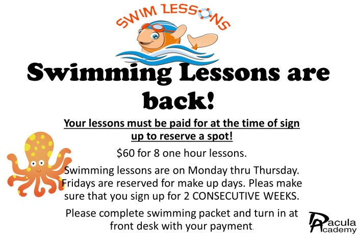 Swimming Lessons are back